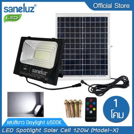 โคมสปอตไลท์ LED โซล่าเซลล์ พร้อมชุดรีโมท 120W แสงสีขาว Daylight 6500K