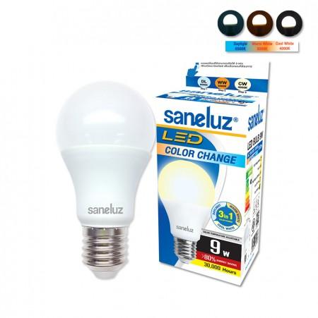 หลอดเปลี่ยนสี 3 แสง Saneluz LED 9W E27 bulb
