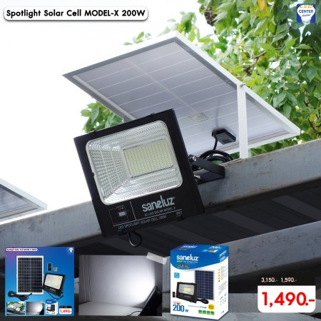 [ ชุด 1 โคม ] โคมสปอตไลท์ LED โซล่าเซลล์ พร้อมชุดรีโมท 200W ( รุ่น MODEL-X ) แสงสีขาว Daylight 6500K