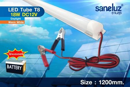 Saneluz หลอดยาว LED T8 18W 12VDC 120cm. สายคีบแบต