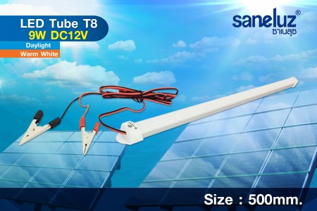 Saneluz หลอดสั้น LED T8 9W 12VDC 60cm. สายคีบแบต