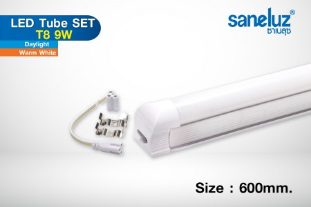 Saneluz หลอดสั้น T8 10W LED 60cm. รางในตัว